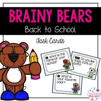 Brainy Bears Back to School Task Cards!