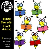 Brainy Bees with a Book Clip Art