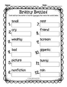 Brainy Bottles 2nd-3rd - ELA Word Search {Homophones, Synonyms, Antonyms}