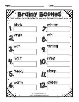 Brainy Bottles 4th-5th - ELA Word Search {Homophones, Synonyms, Antonyms}