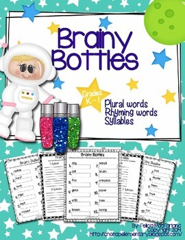 Brainy Bottles K-1st - ELA Word Search {Plural words, rhyming, syllable counts}