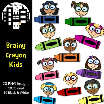 Brainy Crayon Kids Clip Art