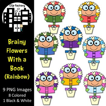 Brainy Flowers with a Book Clip Art