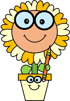 Brainy Flowers with a Pencil Clip Art