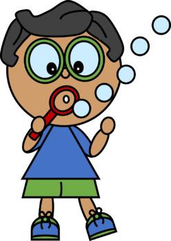 Brainy Kids Blowing Bubbles Clip Art