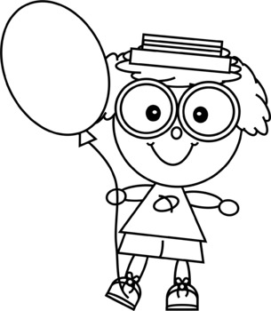 Brainy Kids with a Balloon Clip Art