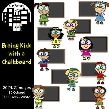 Brainy Kids with a Chalkboard Clip Art