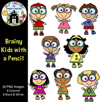 Brainy Kids with a Pencil Clip Art