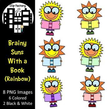 Brainy Suns with a Book Clip Art