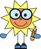 Brainy Suns with a Pencil Clip Art