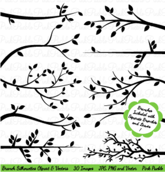 Branch Silhouettes Clipart with Separate Leaves
