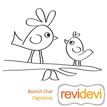 Branch chat (digital stamp, coloring image) S012, two birds