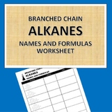 Branched chain Alkanes Worksheet