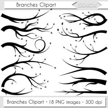 Branches Clipart Trees Leaves Branch Clip Art Silhouette Digital Scrapbooking