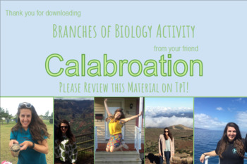 Branches of Biology Activity