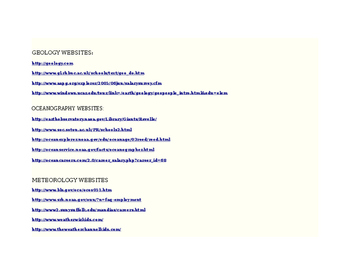 Branches of Earth Science Webquest
