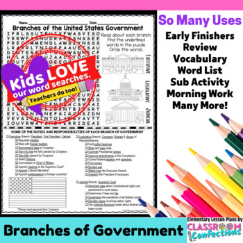 Branches of Government Activity: 3 Branches of Government Word Search