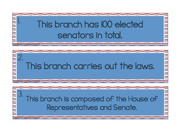 Branches of Government: A sort and writing craftivity!