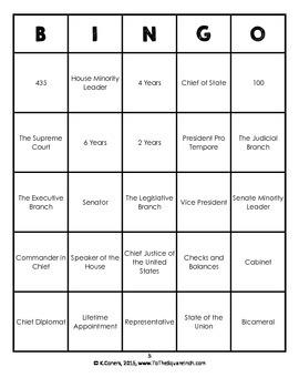 Branches of Government Bingo