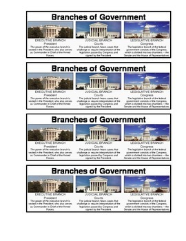 Branches of Government Bookmark