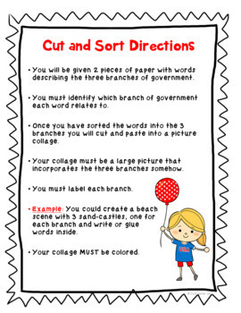 Branches of Government Collage - Cut and Paste Sorting Activity: Civics