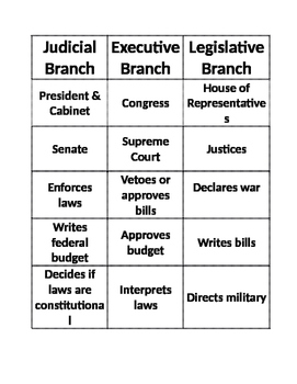 Branches of Government Craft