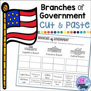 Branches Of Government Cut And Paste Sorting Activity By Jh Lesson