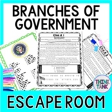 Branches of Government ESCAPE ROOM! Legislative, Executive, Judicial Branch