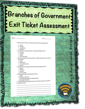 Branches of Government Exit Ticket Assessment