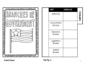 Branches of Government Flippables for Interactive Notebook