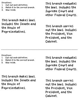 Branches of Government Foldable