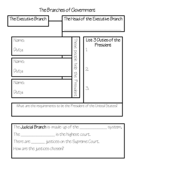 Branches of Government Graphic Organizer for Research