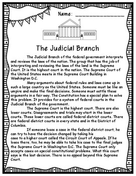Branches of Government Informational Texts