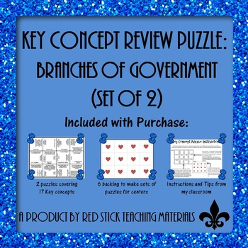 Branches of Government Key Concept Puzzle--set of 2