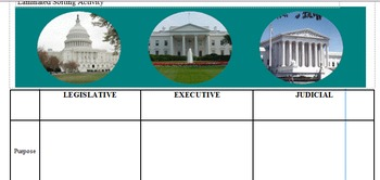 Branches of Government Laminated Sorting Activity In-Class Support