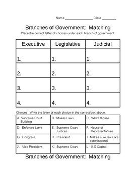 Branches of Government Matching