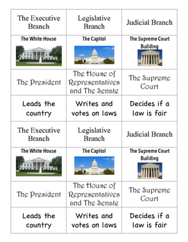 Branches of Government Matching Cards