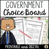 Branches of Government Menu Choice Board for Enrichment an