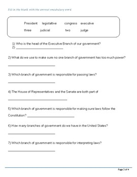 Speech Therapy-Special Education-Branches of Government Modified Quiz