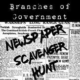 Branches of Government Newspaper Scavenger Hunt