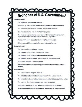 Branches of Government Study Sheet Notes and Test or Quiz