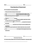 Branches of Government Outline and WebQuest