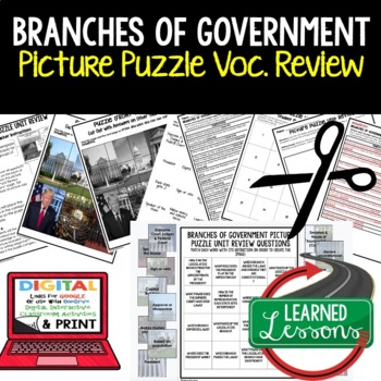 Branches of Government Picture Puzzle Unit Review, Study Guide, Test Prep