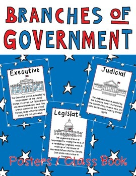 Branches of Government Posters or Book Legislative, Executive & Judicial Branch