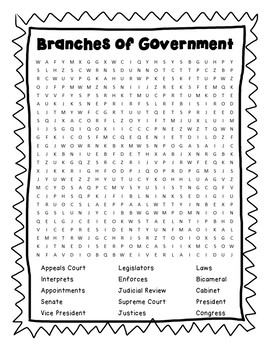 Branches of Government Puzzle Pack- word search, cryptograms, cipher, trivia