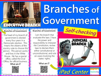 Branches of Government Task Cards with QR Codes {Differentiated}