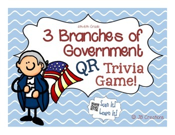 Branches of Government QR Task Card Game (4th grade)