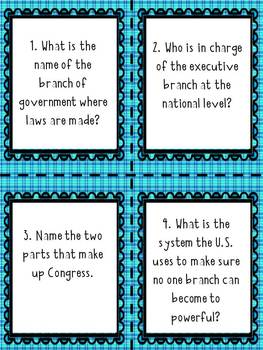 Branches of Government Questioning (Task) Cards