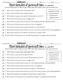 Branches of Government Quiz and Answer Key
