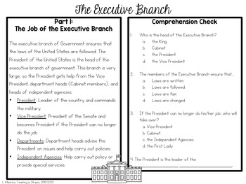 Branches of Government Read and Respond Comprehension Set